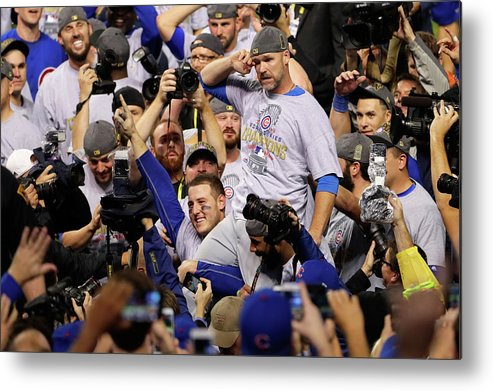 American League Baseball Metal Print featuring the photograph Anthony Rizzo, David Ross, and Jason Heyward by Jamie Squire