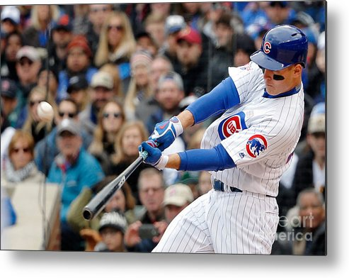 Three Quarter Length Metal Print featuring the photograph Anthony Rizzo by Jon Durr