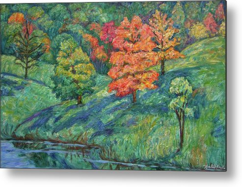 Landscape Metal Print featuring the painting Autumn Pond by Kendall Kessler