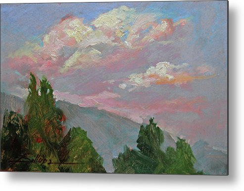 Plein Air Painting Of Clouds Metal Print featuring the painting Autumn Skies by Betty Jean Billups
