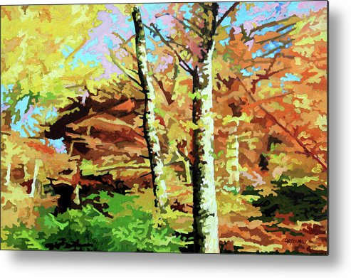 Autumn Metal Print featuring the painting Autumn's Spectacular Display by John Lautermilch