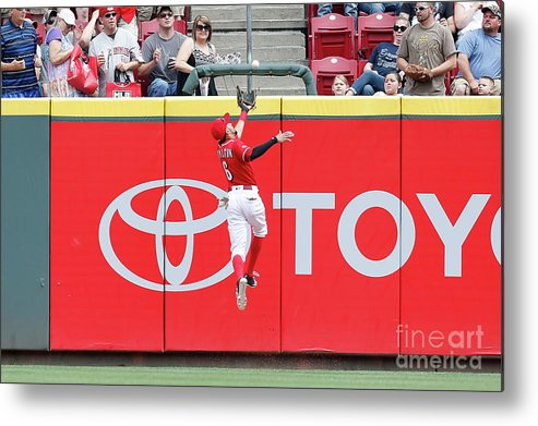 Great American Ball Park Metal Print featuring the photograph Ben Revere and Billy Hamilton by Kirk Irwin