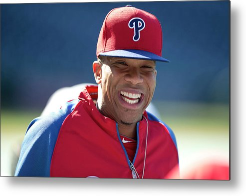 Citizens Bank Park Metal Print featuring the photograph Ben Revere by Mitchell Leff