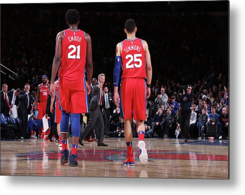 Nba Pro Basketball Metal Print featuring the photograph Ben Simmons and Joel Embiid by Nathaniel S. Butler