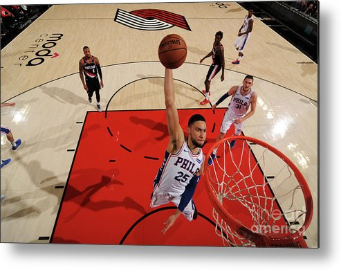 Nba Pro Basketball Metal Print featuring the photograph Ben Simmons by Cameron Browne