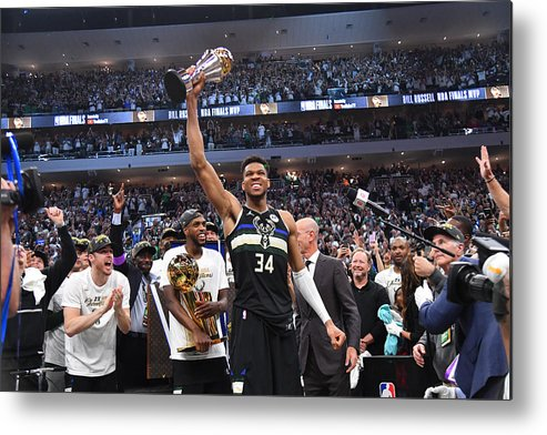 Playoffs Metal Print featuring the photograph Bill Russell and Giannis Antetokounmpo by Jesse D. Garrabrant