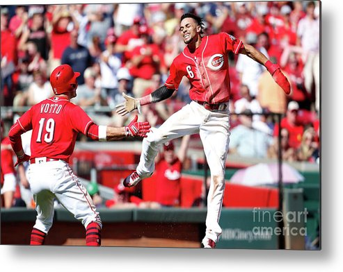 Great American Ball Park Metal Print featuring the photograph Billy Hamilton and Joey Votto by Kirk Irwin