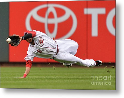 Great American Ball Park Metal Print featuring the photograph Billy Hamilton and Starling Marte by Jamie Sabau