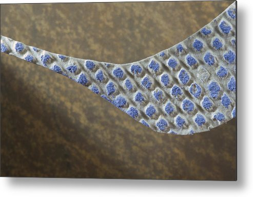 Motion Metal Print featuring the drawing Blue Pattern on Brown Background by Brad Bealmear