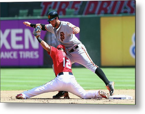 People Metal Print featuring the photograph Brandon Belt and Rougned Odor by Ronald Martinez