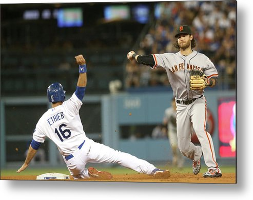 Double Play Metal Print featuring the photograph Brandon Crawford and Andre Ethier by Stephen Dunn