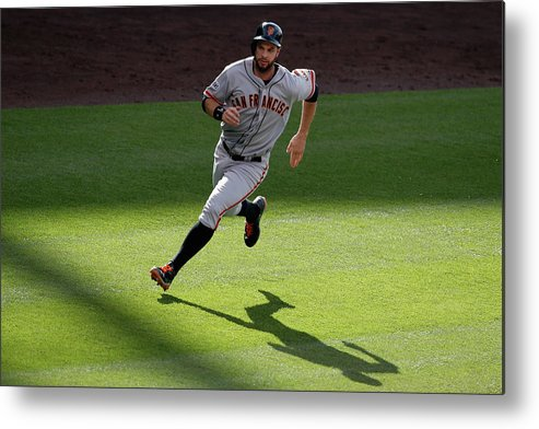 People Metal Print featuring the photograph Brandon Crawford and Brandon Belt by Doug Pensinger