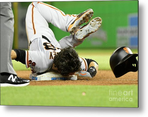 People Metal Print featuring the photograph Brandon Crawford and Buster Posey by Eric Espada