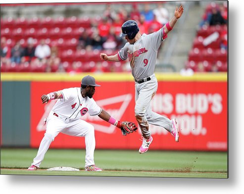 Great American Ball Park Metal Print featuring the photograph Brandon Phillips and Aaron Hill by Joe Robbins