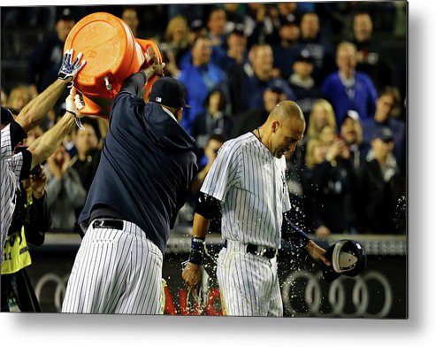 Ninth Inning Metal Print featuring the photograph Brett Gardner And Derek Jeter by Al Bello