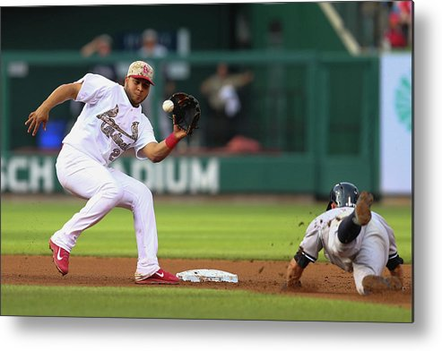 St. Louis Cardinals Metal Print featuring the photograph Brett Gardner and Jhonny Peralta by Dilip Vishwanat