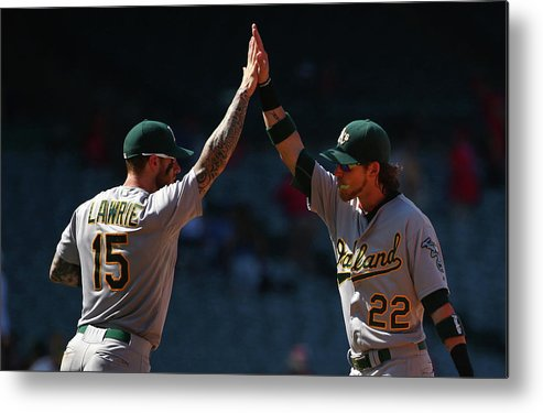 People Metal Print featuring the photograph Brett Lawrie and Josh Reddick by Victor Decolongon