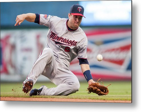 American League Baseball Metal Print featuring the photograph Brian Dozier and David Murphy by Jason Miller
