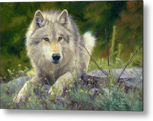 Wolf Metal Print featuring the painting Brother Wolf by Lucie Bilodeau