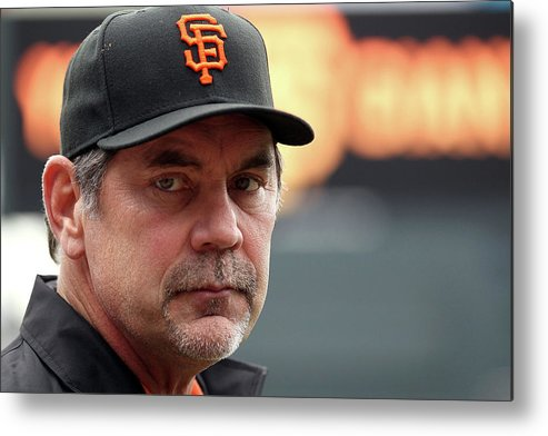 Bruce Bochy Metal Print featuring the photograph Bruce Look by Doug Pensinger