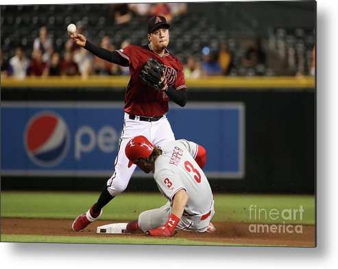 American League Baseball Metal Print featuring the photograph Bryce Harper and Wilmer Flores by Christian Petersen
