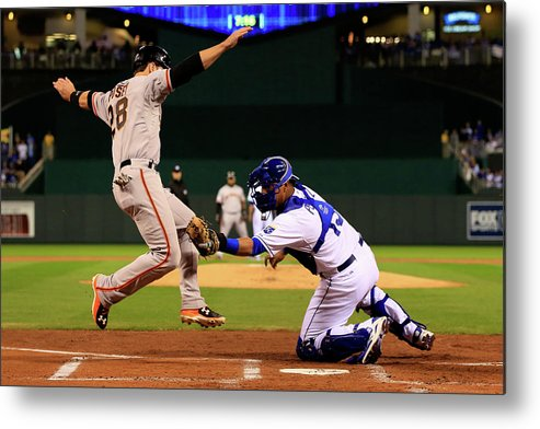Salvador Perez Diaz Metal Print featuring the photograph Buster Posey by Jamie Squire