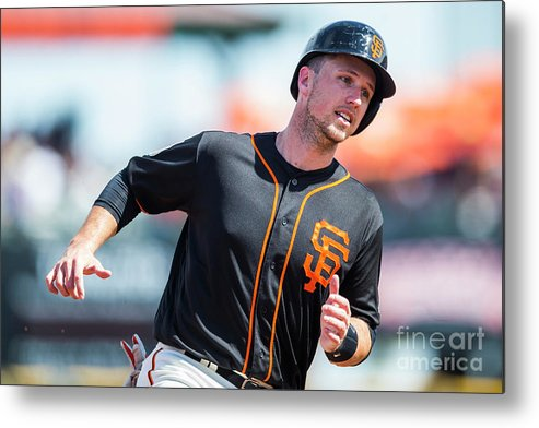 Three Quarter Length Metal Print featuring the photograph Buster Posey by Rob Tringali