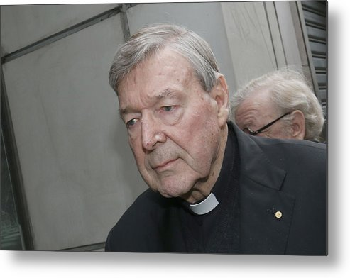 People Metal Print featuring the photograph Cardinal George Pell Attends Court To Face Historical Child Abuse Charges by Darrian Traynor
