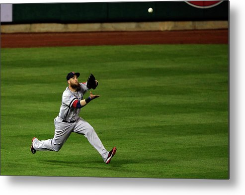 American League Baseball Metal Print featuring the photograph Carlos Beltran and Jonny Gomes by Jamie Squire