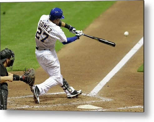 Scoring Metal Print featuring the photograph Carlos Gomez and Rickie Weeks by Mike Mcginnis
