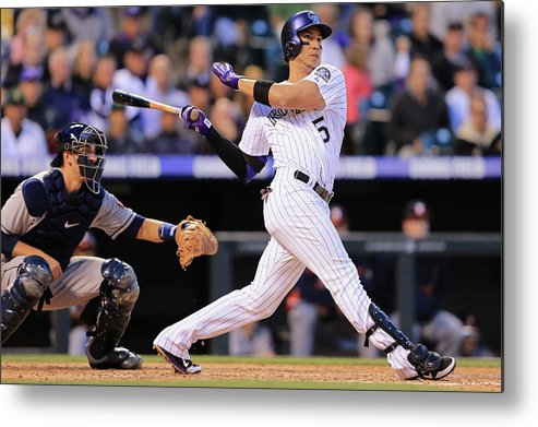 National League Baseball Metal Print featuring the photograph Carlos Gonzalez by Doug Pensinger
