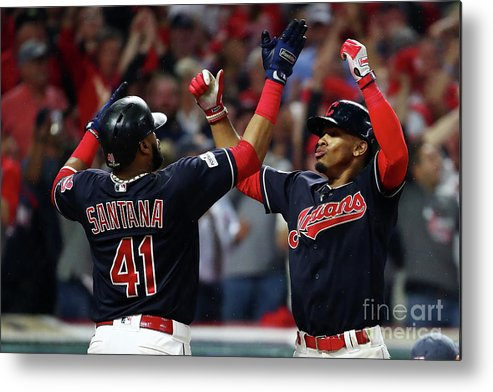 Game Two Metal Print featuring the photograph Carlos Santana and Francisco Lindor by Gregory Shamus