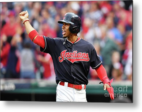 Game Two Metal Print featuring the photograph Carlos Santana and Francisco Lindor by Jason Miller