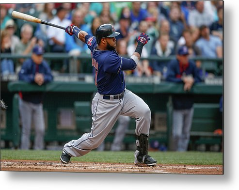 American League Baseball Metal Print featuring the photograph Carlos Santana by Otto Greule Jr