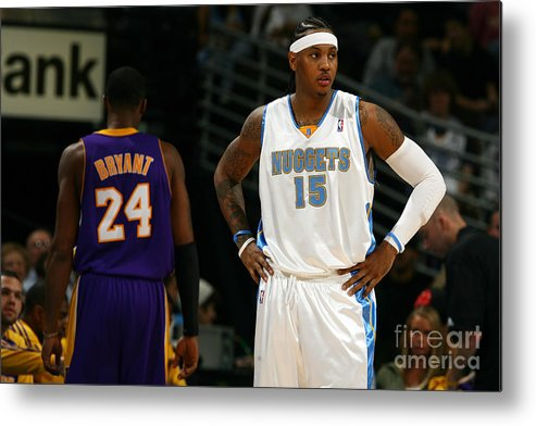 Nba Pro Basketball Metal Print featuring the photograph Carmelo Anthony, Allen Iverson, and Kobe Bryant by Garrett Ellwood