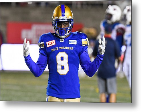 Professional Sport Metal Print featuring the photograph CFL: AUG 24 Winnipeg Blue Bombers at Montreal Alouettes by Icon Sportswire