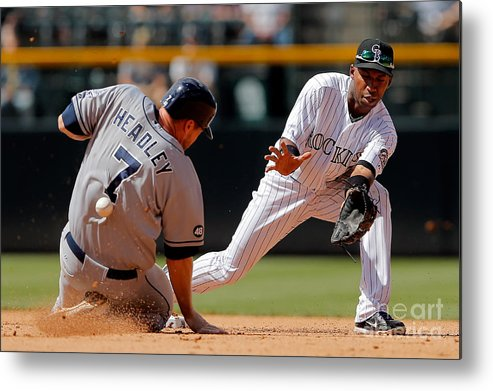 Sports Ball Metal Print featuring the photograph Chase Headley and Jonathan Herrera by Doug Pensinger
