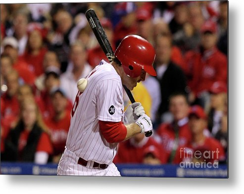 Playoffs Metal Print featuring the photograph Chase Utley by Al Bello