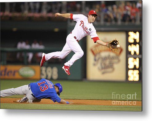 Citizens Bank Park Metal Print featuring the photograph Chase Utley and Starlin Castro by Hunter Martin