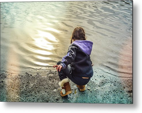 Child Metal Print featuring the photograph Chasing River Rainbows by Cindy Nunn