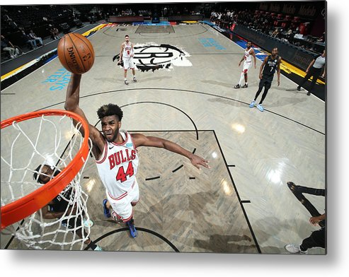 Nba Pro Basketball Metal Print featuring the photograph Chicago Bulls v Brooklyn Nets by Nathaniel S. Butler