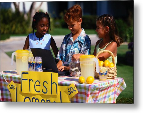 Child Metal Print featuring the photograph Children Selling Lemonade at Lemonade Stand by SW Productions