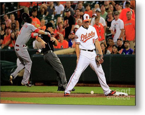 American League Baseball Metal Print featuring the photograph Chris Davis and Billy Hamilton by Rob Carr