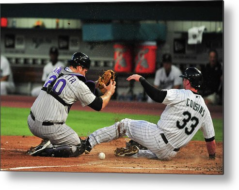 Ball Metal Print featuring the photograph Chris Iannetta by Ronald C. Modra/sports Imagery