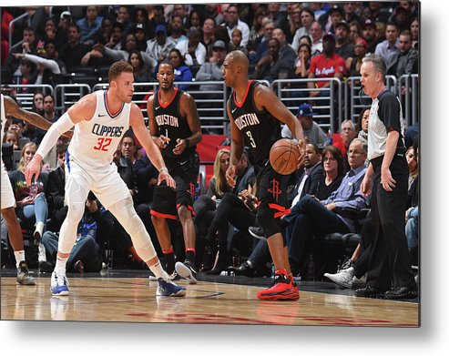 Nba Pro Basketball Metal Print featuring the photograph Chris Paul and Blake Griffin by Andrew D. Bernstein
