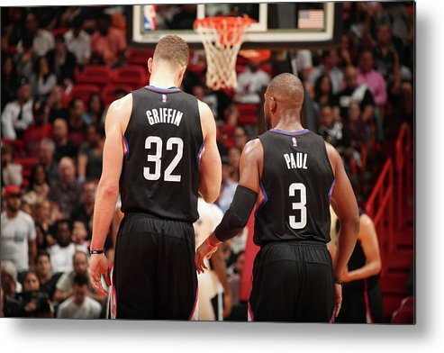 Nba Pro Basketball Metal Print featuring the photograph Chris Paul and Blake Griffin by Issac Baldizon
