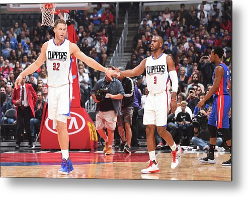 Nba Pro Basketball Metal Print featuring the photograph Chris Paul and Blake Griffin by Juan Ocampo