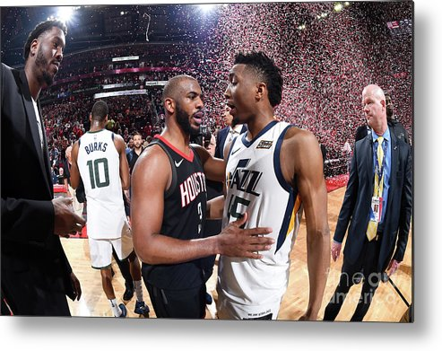 Playoffs Metal Print featuring the photograph Chris Paul and Donovan Mitchell by Andrew D. Bernstein