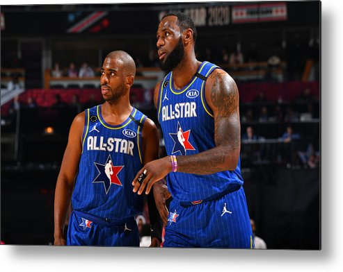 Nba Pro Basketball Metal Print featuring the photograph Chris Paul and Lebron James by Jesse D. Garrabrant