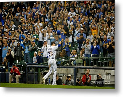 Crowd Metal Print featuring the photograph Christian Yelich by Jon Durr